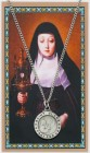 Round St. Clare Medal and Prayer Card Set