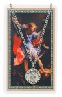 Round St. Michael The Archangel Medal and Prayer Card Set