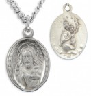 Women's Sterling Silver Oval Sacred Heart of Jesus Necklace with Chain Options