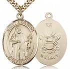 St. Brendan the Navigator/ Navy Medal, Gold Filled, Large