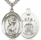 St. Christopher Air Force Medal, Sterling Silver, Large