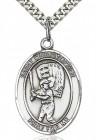St. Christopher Baseball Medal, Sterling Silver, Large
