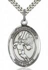St. Christopher Basketball Medal, Sterling Silver, Large