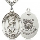 St. Christopher Coast Guard Medal, Sterling Silver, Large
