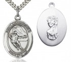 St. Christopher Hockey Medal, Sterling Silver, Large