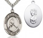 St. Christopher Ice Hockey Medal, Sterling Silver, Large