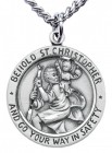 Men's Sterling Silver Round Saint Christopher Necklace