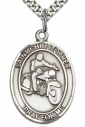 Men's Sterling Silver Oval St. Christopher Motorcycle Medal