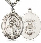 St. Joan of Arc Navy Medal, Sterling Silver, Large