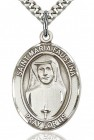 St. Maria Faustina Medal, Sterling Silver, Large