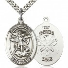 St. Michael National Guard Medal, Sterling Silver, Large
