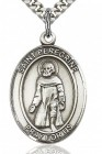 St. Peregrine Laziosi Medal, Sterling Silver, Large