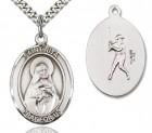 St. Rita Baseball Medal, Sterling Silver, Large