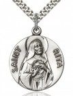 St. Rita of Cascia Medal, Sterling Silver