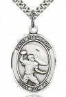 St. Sebastian Football Medal, Sterling Silver, Large