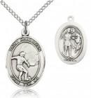 St. Sebastian Soccer Medal, Sterling Silver, Medium