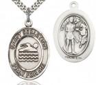 St. Sebastian Swimming Medal, Sterling Silver, Large