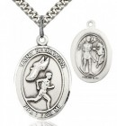 St. Sebastian Track and Field Medal, Sterling Silver, Large