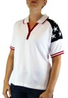 Women's Patriotic Polo with Stars in White