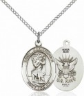 Women's Pewter Oval St. Christopher Navy Medal