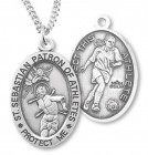 Women's Sterling Silver Saint Sebastian Soccer Oval Necklace