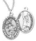 Girl's Oval Double-Sided Tennis Necklace with Saint Sebastian Back in Sterling Silver