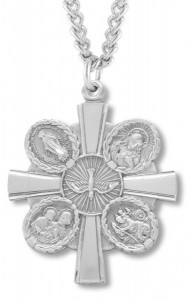 Men's Sterling Silver Unique Two Sided 5 Way Cross Necklace with Chain Options [HMR0697]