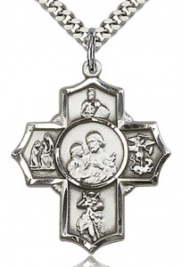 5 Way Cross Firefighter Medal, Sterling Silver [BL6522]