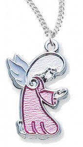 Girls's Sterling Silver Pink Angel Charm Necklace with Chain Options [HMR0749]