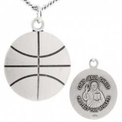Basketball Shape Necklace with Jesus Figure Back in Sterling Silver [HMS1111]