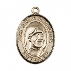 St. Teresa of Calcutta Medal, 14 Karat Gold, Large [BL0028]