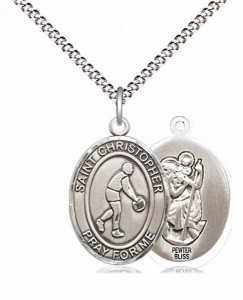 Boy's Pewter Oval St. Christopher Basketball Medal [BLPW578]