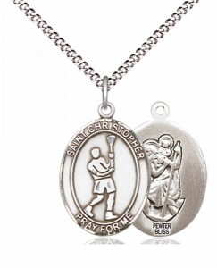 Boy's Pewter Oval St. Christopher Lacrosse Medal [BLPW573]