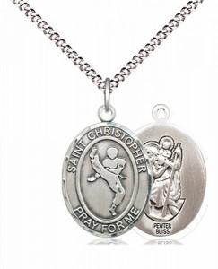 Boy's Pewter Oval St. Christopher Martial Arts Medal [BLPW583]