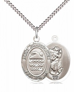 Boy's Pewter Oval St. Christopher Swimming Medal [BLPW582]