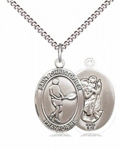 Boy's Pewter Oval St. Christopher Tennis Medal [BLPW581]