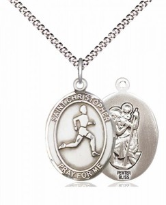 Boy's Pewter Oval St. Christopher Track and Field Medal [BLPW575]
