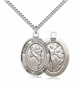 Boy's Pewter Oval St. Sebastian Martial Arts Medal [BLPW593]