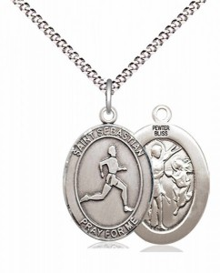 Boy's Pewter Oval St. Sebastian Track and Field Medal [BLPW601]