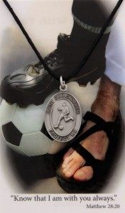 Boy's St. Christopher Soccer Medal with Leather Chain and Prayer Card Set [MPC0100]