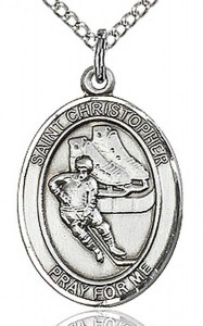 Boy's Sterling Silver Saint Christopher Hockey Medal [BL1268]