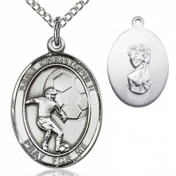 Boy's Sterling Silver Saint Christopher Soccer Medal [BL1410]