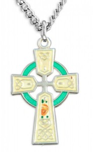 Women's Sterling Silver Celtic Cross Necklace Green Red Enamel Floral Accents with Chain Options [HMR0802]