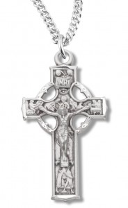 Women's Sterling Silver Celtic Crucifix Necklace with Chain Options [HMR1023]