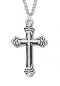 Women's Sterling Silver Black Etched Enamel Cross Necklace with Chain Options [HMR1001]