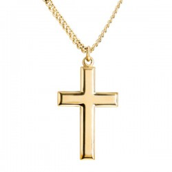 Men's Gold Filled Beveled Edge Cross Pendant [BL5381]