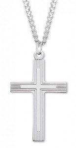 Men's Sterling Silver Cross Necklace with Etched Borders with Chain Options [HMR0977]