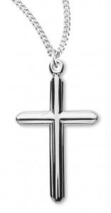Women's Sterling Silver Etched Design Cross Necklace with Chain Options [HMR0993]