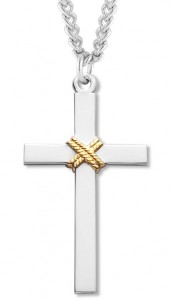 Men's Sterling Silver Cross Necklace with Gold Rope Center with Chain Options [HMR0985]