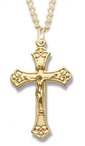 Women's 14kt Gold Over Sterling Silver Scroll Tip Crucifix + 18 Inch Gold Plated Chain & Clasp [HMR0503]